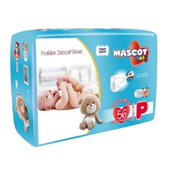 Fralda Descartável Pacote Mega P PT 56 UN Mascot Baby