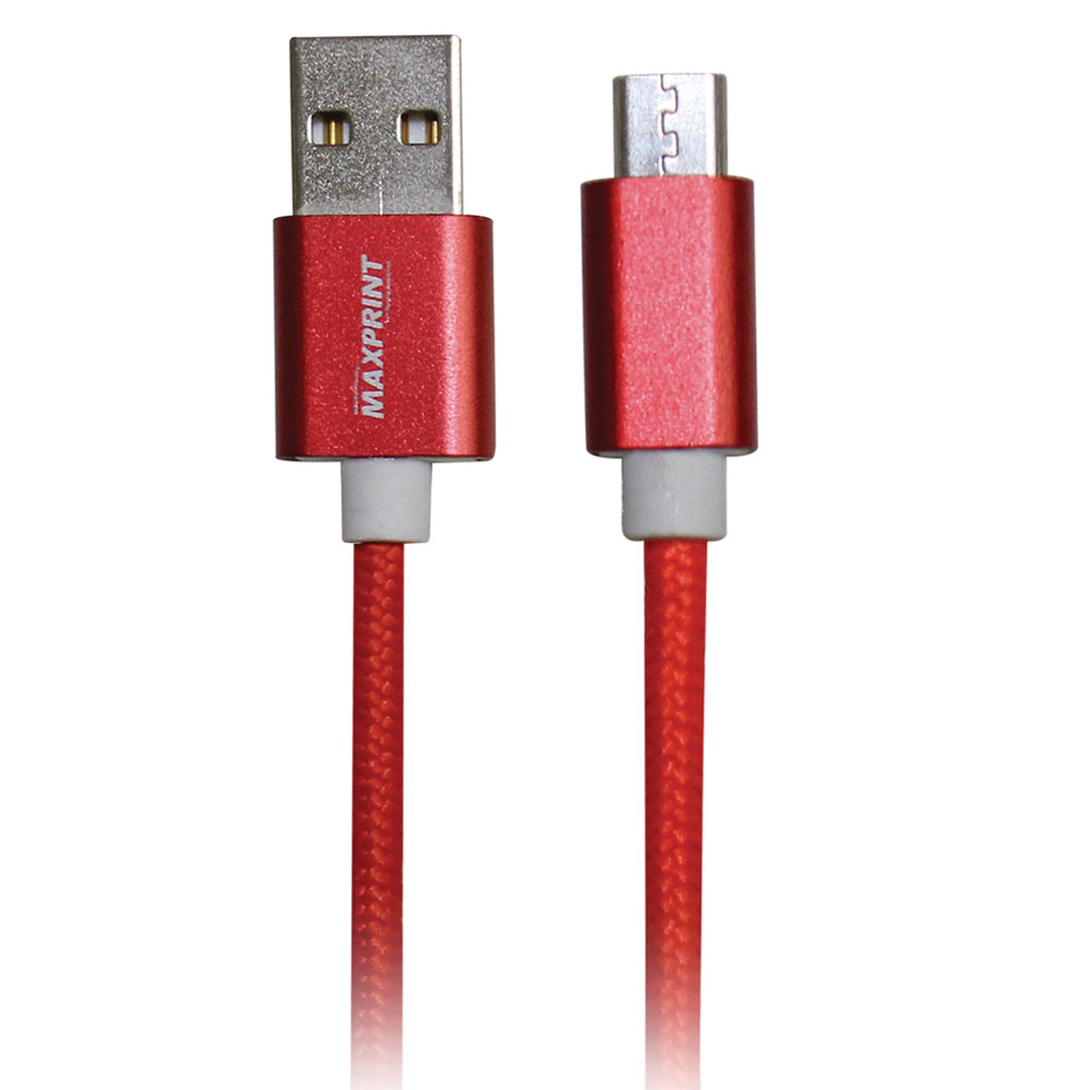 Cabo USB Metal Gear Cabo Nylon Vermelho 1 UN Maxprint