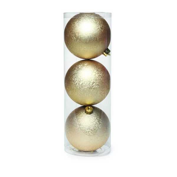 Bolas em Tubo Lisa Ouro 8cm 1714178 JG 3 UN Cromus