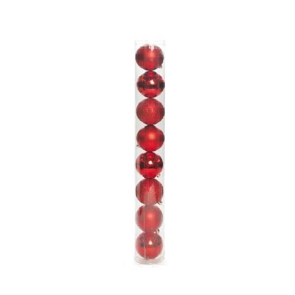 Bolas em Tubo Texturizadas Vermelha 6cm 1613071 JG 8 UN Cromus