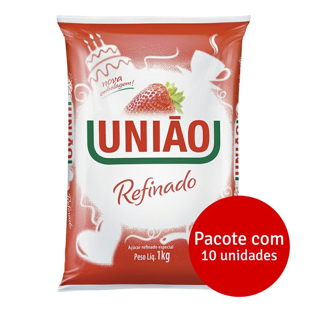 Açúcar Refinado 1kg Fardo 10 UN União