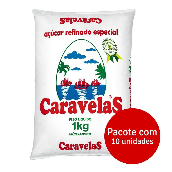 Açúcar Refinado 1kg Fardo 10 UN Caravelas
