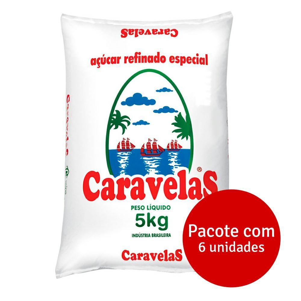 Açúcar Refinado 5kg Fardo 6 UN Caravelas