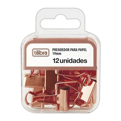 Prendedor de Papel 19mm Ouro Rose PT 12 UN Tilibra