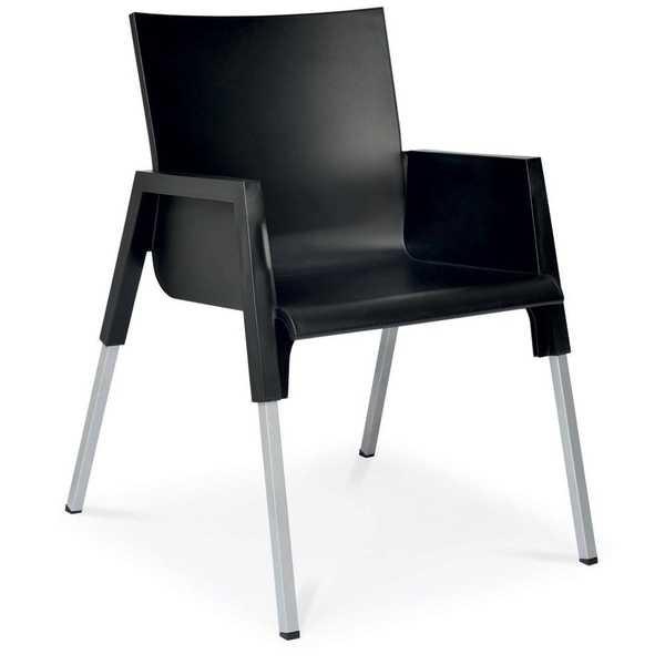 Cadeira Fixa Funchal Preto 1 UN Xplast