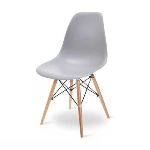 Cadeira Eames em Polipropileno Base Madeira Cinza OR Design