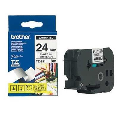 Fita Etiquetador Eletrô 24mmx8m Preto Branco TZ-251 Brother