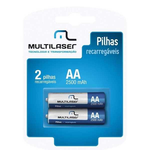 Pilha Recarregável Pequena AA 2500mAh CB053 2 UN Multilaser