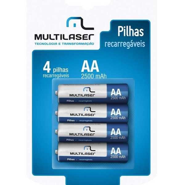 Pilha Recarregável Pequena AA  2500mAh CB052 4 UN Multilaser