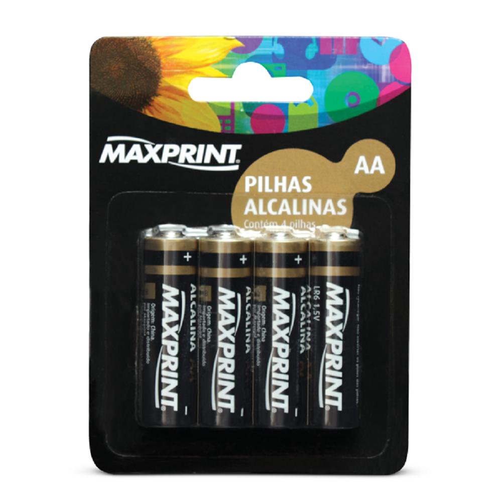 Pilha Alcalina Pequena AA 4 UN Maxprint