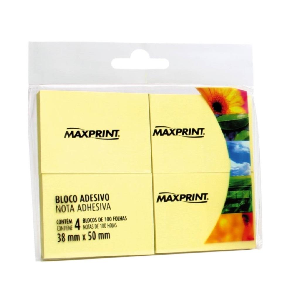 Bloco Adesivo 50 Folhas 38x50mm Amarelo PT 4 UN Maxprint