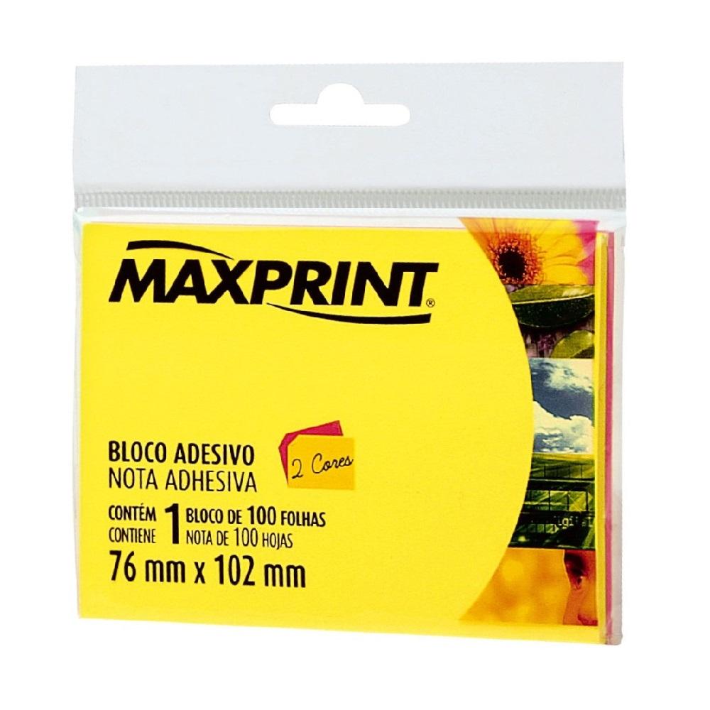 Bloco Adesivo 100 Folhas 76x102mm 2 Cores Neon 1 UN Maxprint