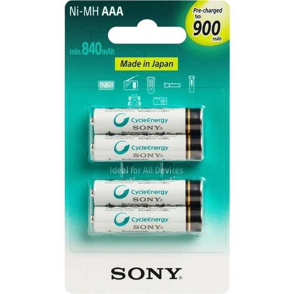Pilha Recarregável Palito AAA 840mAh 4 UN Sony