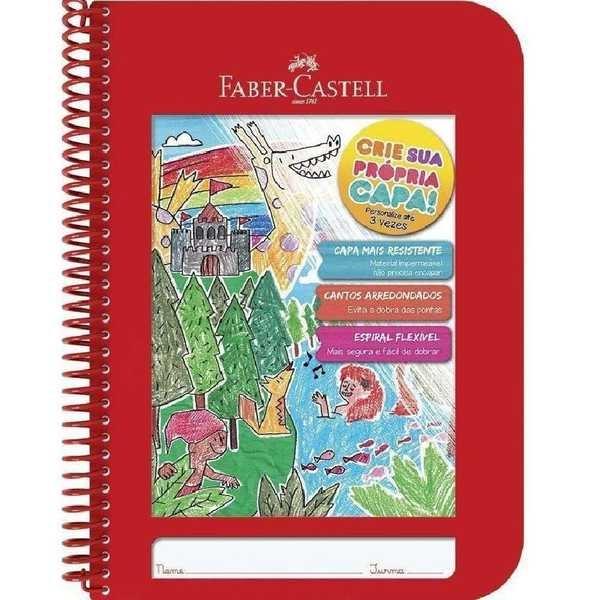 Caderno Pedagógico Criativo Capa Plástica 96 FL Vermelho 1 UN Faber Castell