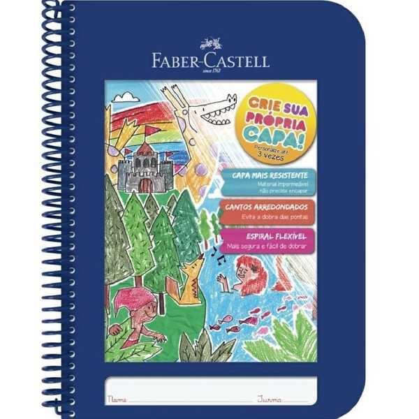 Caderno Pedagógico Criativo Capa Plástica 96 FL Azul 1 UN Faber Castell