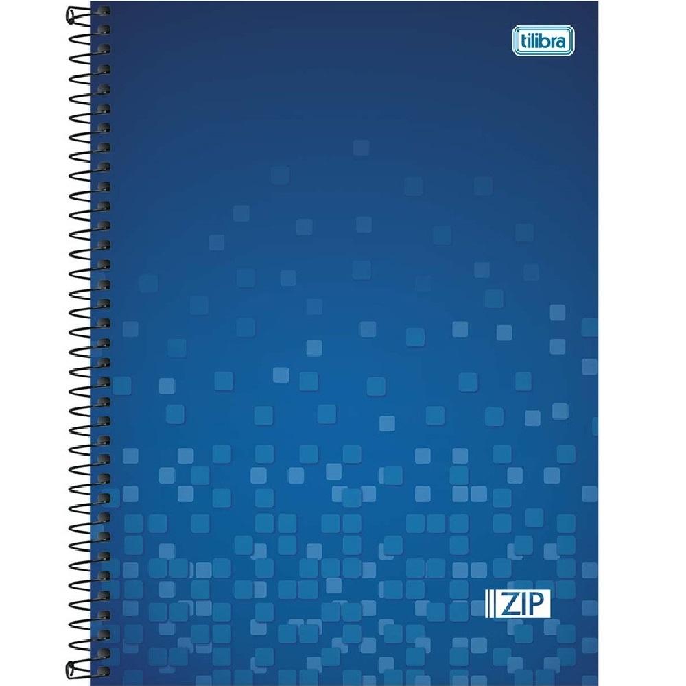 Caderno Universitário Capa Dura 96 FL Zip Azul 1 UN Tilibra