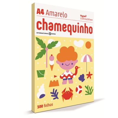 Papel Sulfite Chamequinho Amarelo 75gr A4 21x29,7cm 100 FL Chamex