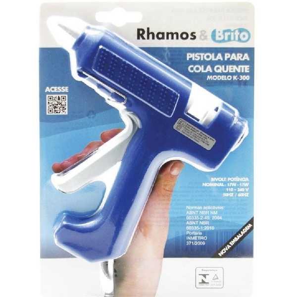 Pistola para Cola Quente Grossa Azul K300 1 UN Rhamos e Brito