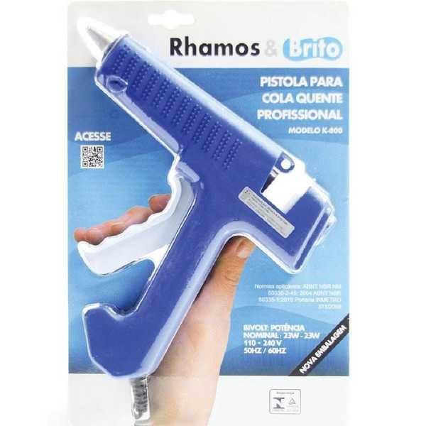 Pistola para Cola Quente Grossa Azul K800 1 UN Rhamos e Brito