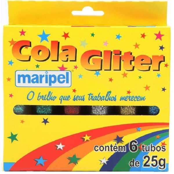 Cola Colorida com Gliter 6 Cores 25g Cada 6 UN Maripel