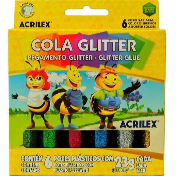 Cola Colorida com Gliter 6 Cores 23g Cada 6 UN Acrilex