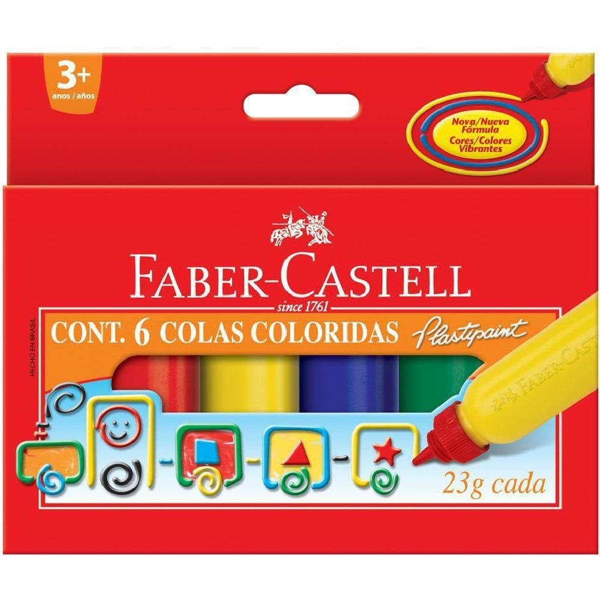 Cola Colorida 6 Cores 23g Cada 6 UN Faber Castell
