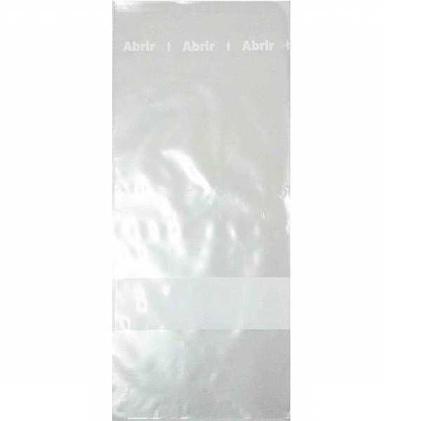 Saco Plástico com Tarja Transparente 150x350mm PT 500 UN Tileno