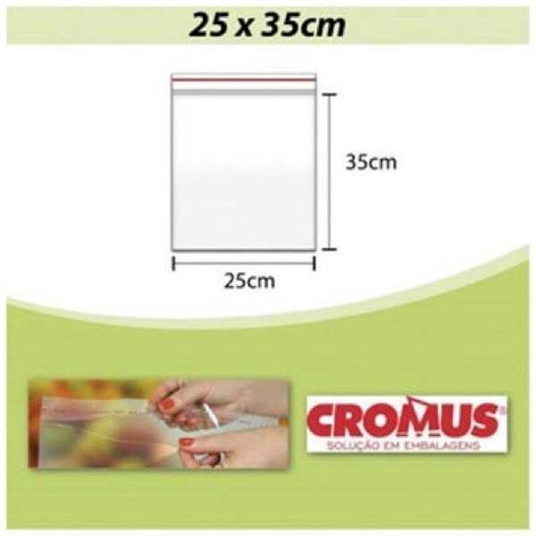 Saco Adesivado Transparente 25x35cm Aba 3cm PT 100 UN Cromus