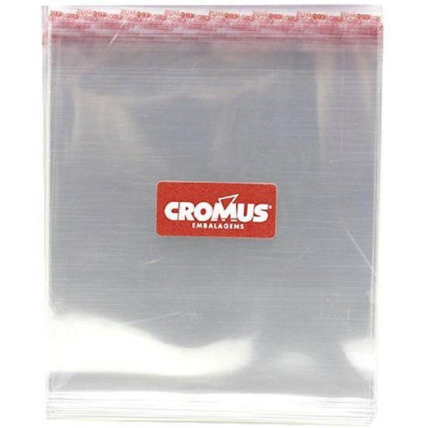 Saco Adesivo Transparente 7,5x13cm Aba 3cm PT 100 UN Cromus