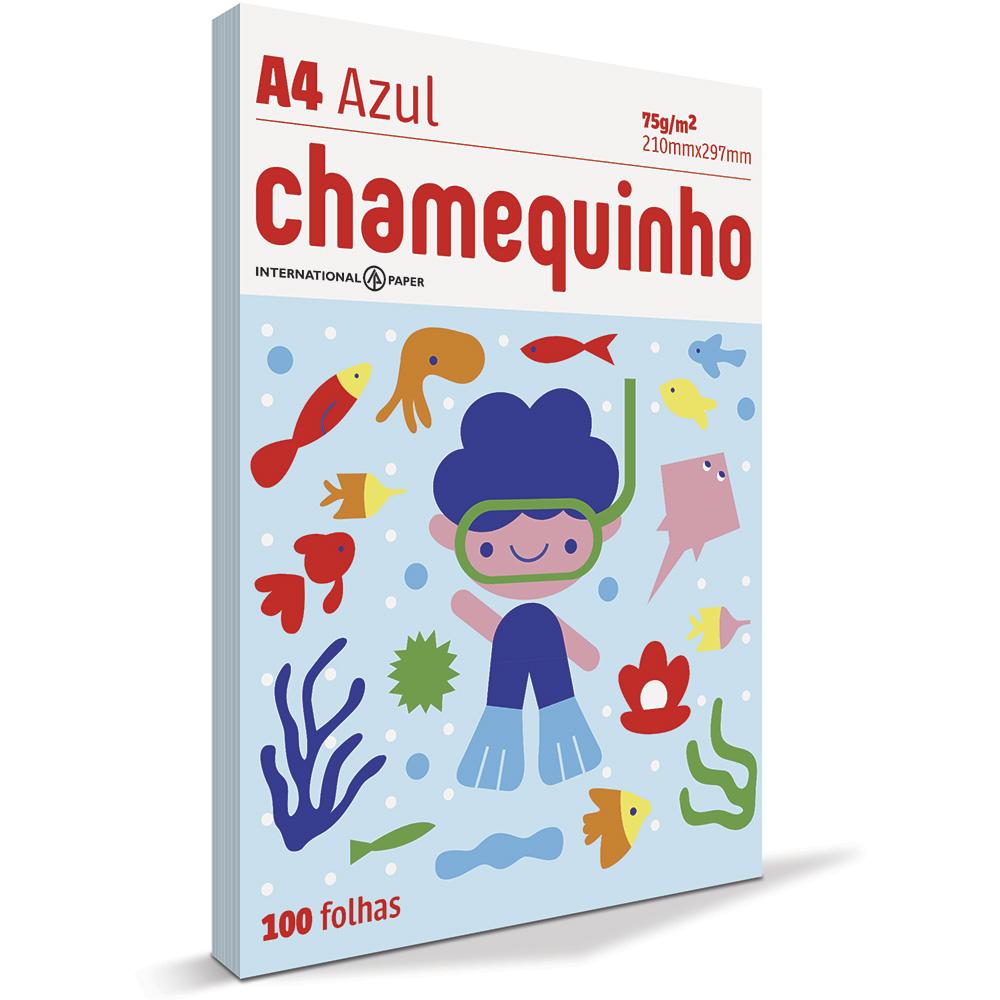 Papel Sulfite Chamequinho Azul 75gr A4 21x29,7cm 100 FL Chamex