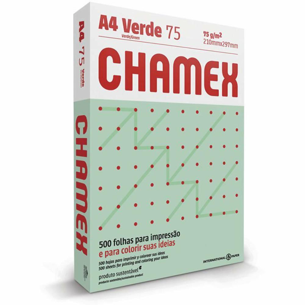 Papel Sulfite Color Verde 75g A4 210X297mm PT 500 FL Chamex