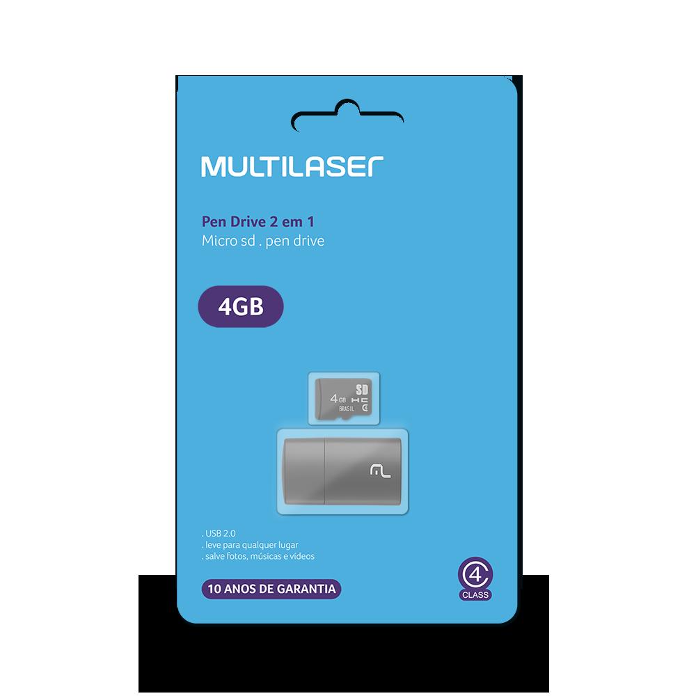 Leitor USB + Cartão de Memória Classe 4 4GB MC159 1 UN Multilaser