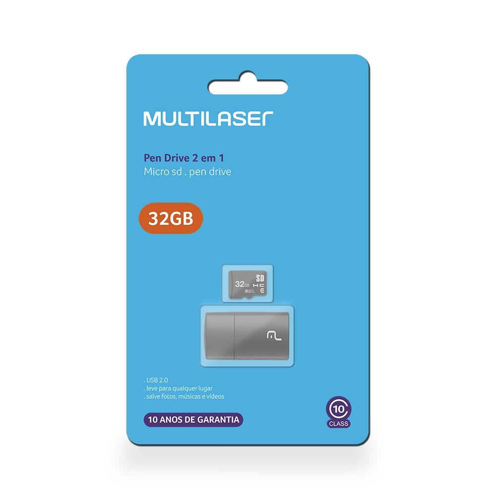 Leitor USB + Cartão de Memória Classe 10 32GB MC163 1 UN Multilaser