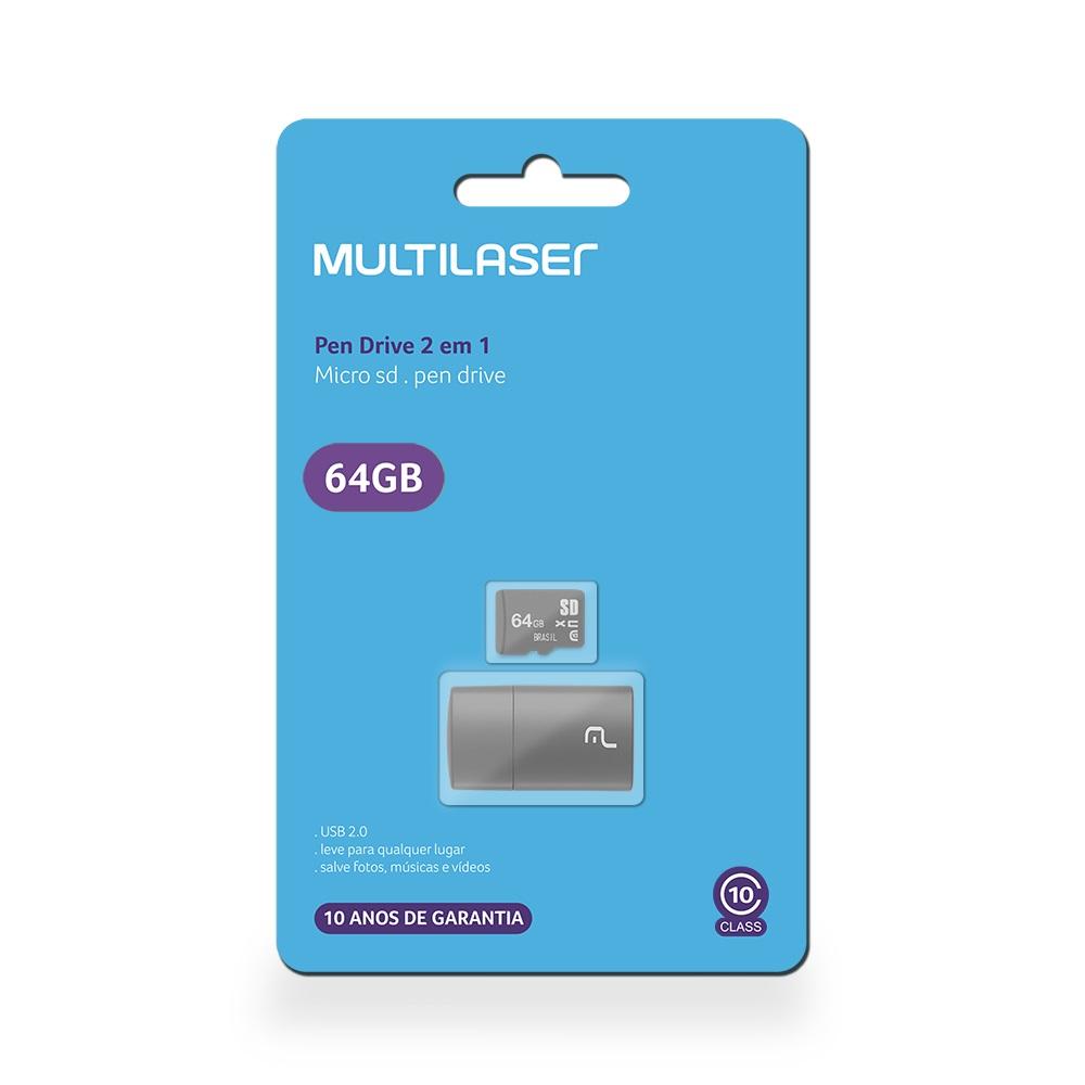 Leitor USB + Cartão de Memória Classe 10 64GB MC164 1 UN Multilaser