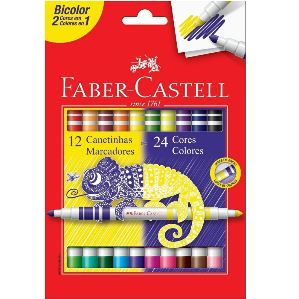 Caneta Hidrográfica Colorir Bicolor 24 Cores Faber Castell