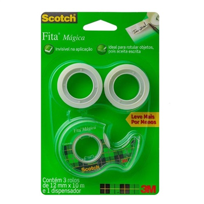 Fita Mágica Transparente Scotch com Dispensador 12mm x 10m 3 Rolos 3M
