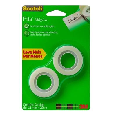 Fita Mágica Transparente Scotch 12mm x 20m 2 UN 3M