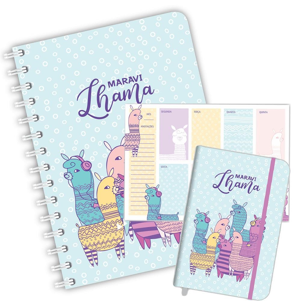 Kit Planner Caderno e Caderneta Sweet Lhama Redoma