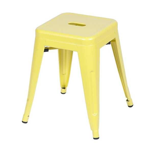 Banqueta Retro Baixa em Aço Amarelo 1 UN OR Design