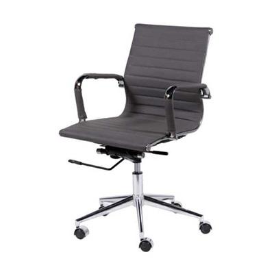 Cadeira Eames Clássica Charles Baixa Base Cromada Cinza 1 UN OR Design