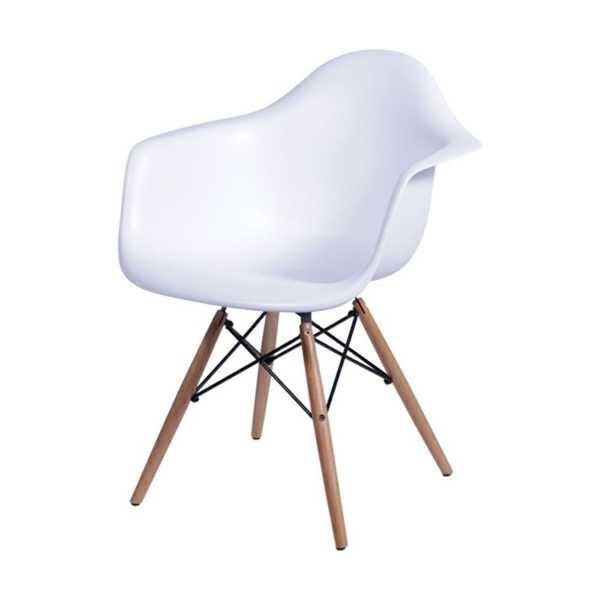 Poltrona Eames Base Madeira Branco 1 UN OR Design