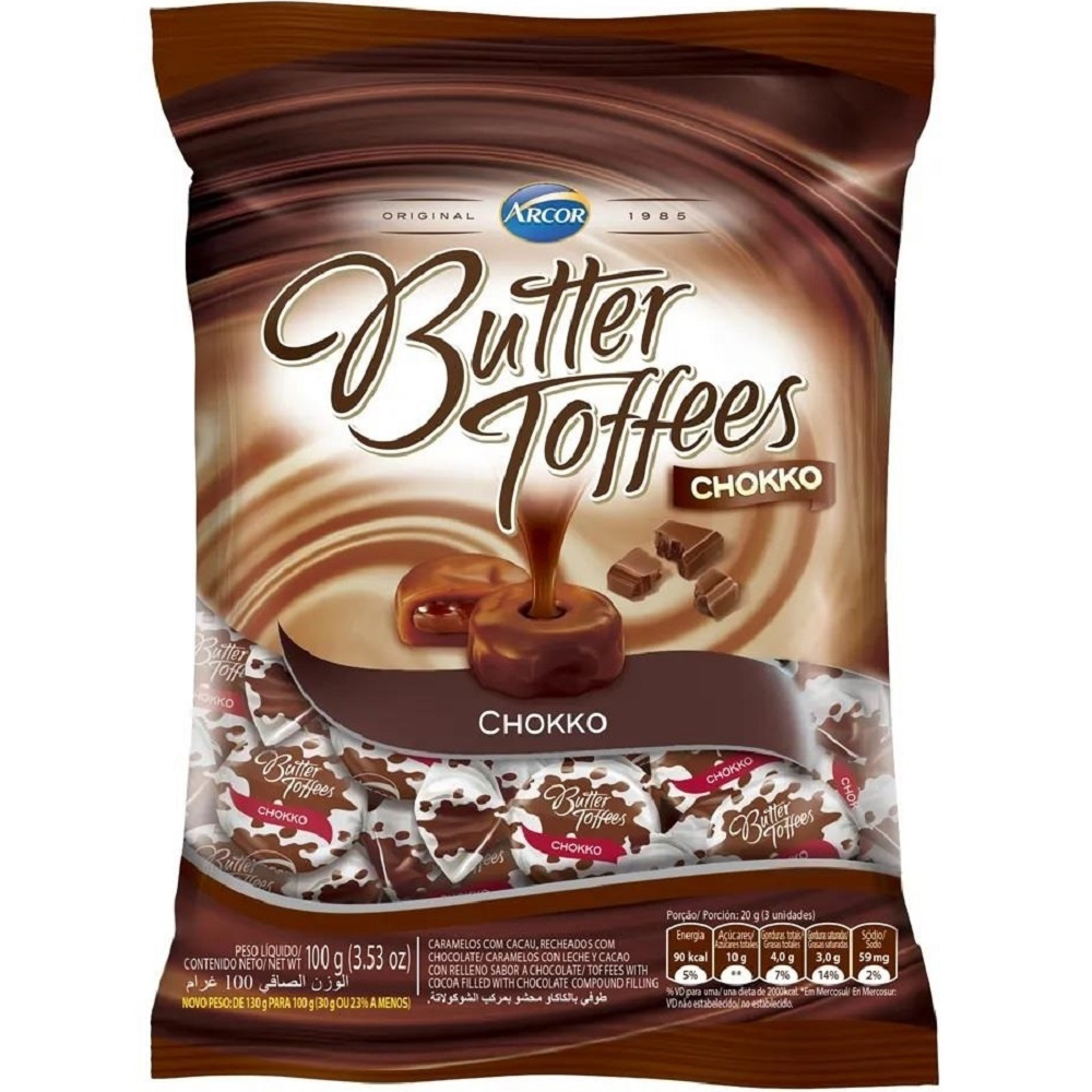 Bala Butter Toffees Chokko 100g 1 UN Arcor