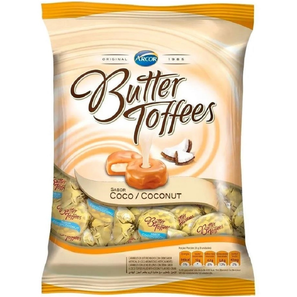 Bala Butter Toffees Coco 100g 1 Pacote Arcor