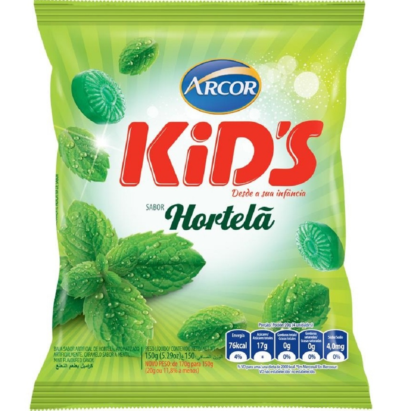 Bala Kids Hortelã 150g 1 Pacote Arcor