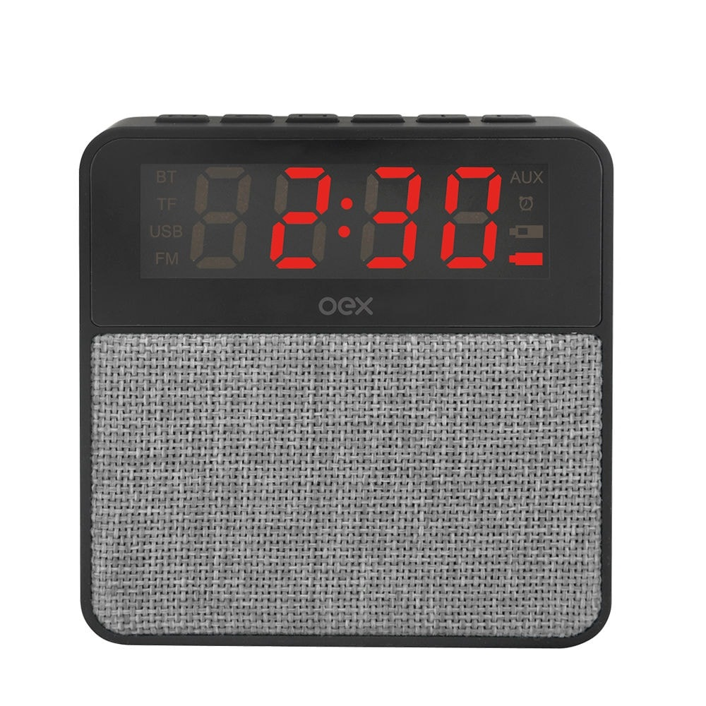 Caixa de Som Clock Speaker Wake Bluetooth Despertador 10W Cinza CS100 1 UN OEX