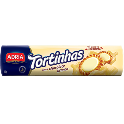 Biscoito Recheado Tortinhas Chocolate Branco 160g 1 UN Adria