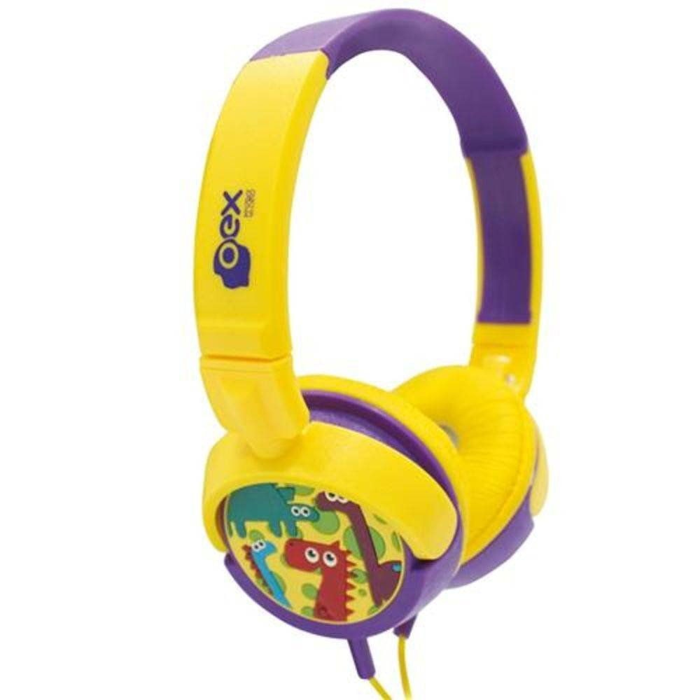 Headphone Kids Dino Amarelo e Roxo HP301 1 UN OEX
