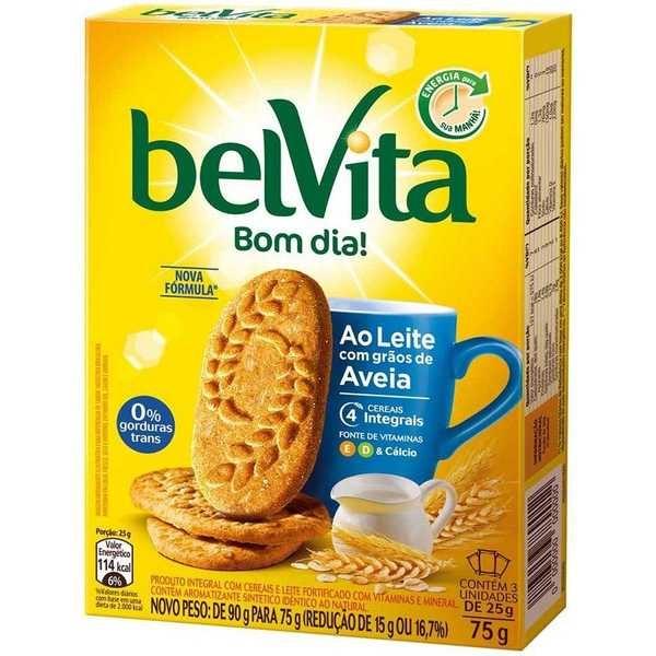 Biscoito Leite com Aveia 75g CX 3 Pacote Belvita