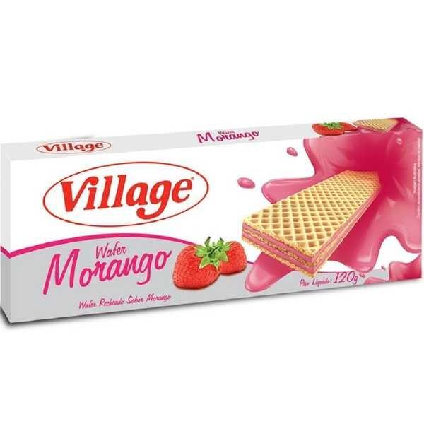 Biscoito Wafer Morango 120g 1 UN Village