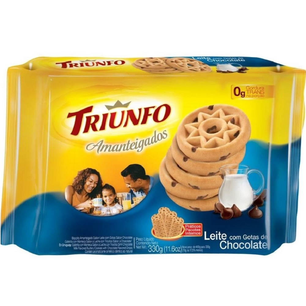 Biscoito Amanteigado Leite com Gotas de Chocolate 330g 1 UN Triunfo